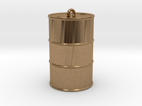 Oil drum keyring in Raw Brass