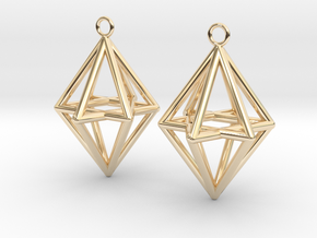 Pyramid triangle earrings type 14 in 14k Gold Plated