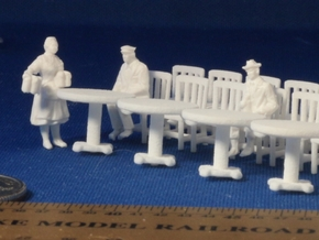 5 Round Tables and 20 Chairs HO Scale in White Strong & Flexible