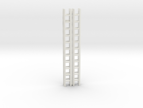 Extension Ladder 12Ft 1-87 HO Scale (2PK) in White Strong & Flexible