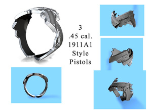 345 3 1911A1 45 cal pistols, Ring Size 10 in White Strong & Flexible