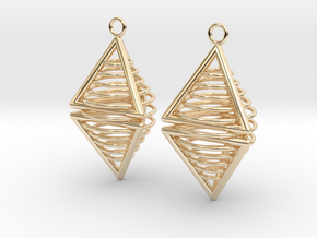 Pyramid triangle earrings serie 3 type 8 in 14k Gold Plated