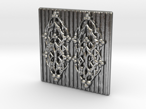 Quilted Sq Charm (Open Gates) in Raw Silver