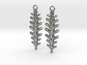 Quilted Sq Earrings (Fern) in Raw Silver