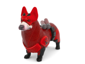Daredevil Corgi (The Corgi Of Hell's Kitchen)  in Full Color Sandstone