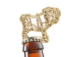 Pug Bottle Opener Keychain in Polished Gold Steel