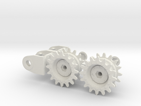 1:16 Motor Mount _TYPE97 TANK with sprocket wheel in White Strong & Flexible