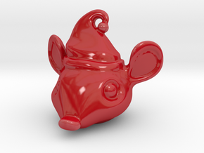 Porcelain Mouse Head Ornament in Gloss Red Porcelain