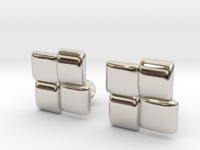 Square Cufflinks in Rhodium Plated