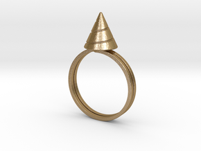 Drill-ring (US size #12) in Polished Gold Steel
