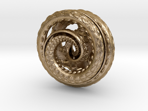 Nautilus pocket sculpture in Polished Gold Steel