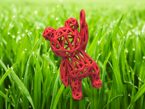 Teddy Bear pendant - ring, edges - 60mm in Red Strong & Flexible Polished
