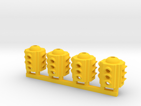 Traffic Light 4 Way Body (Qty 4) - HO 87:1 Scale in Yellow Strong & Flexible Polished