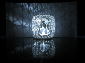3D Printed Block Island Tea Light in White Strong & Flexible Polished