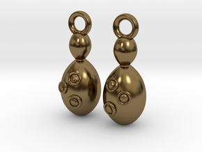 Saccharomyces Earrings  in Polished Bronze