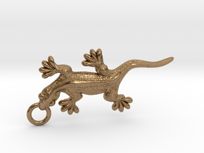 Gecko pendant in Raw Brass