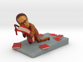 """Book Lover- by John Nickle - 4.25"" Tall Sculpture in Full Color Sandstone"