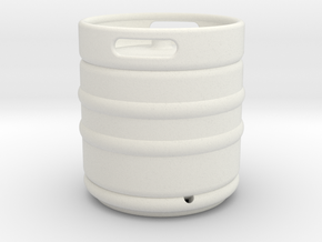 1/10 Scale Beer keg (small) in White Strong & Flexible