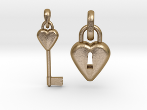 2 Pendants Hollow Heart and Key to Heart in Polished Gold Steel