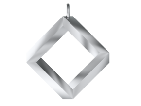 Impossible Square Pendant in Polished Silver