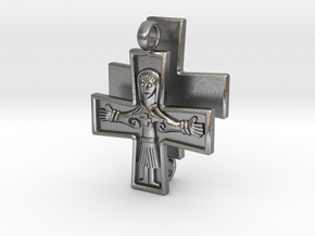 Virgin Mary Cross pair in Raw Silver