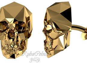 Cufflink Skull in Polished Brass