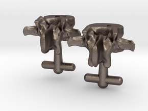 Lumbar Vertebra Cufflinks Inscribed with P and N in Stainless Steel