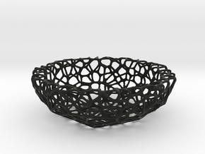 Mini Key shell / bowl (9 cm) - Voronoi-Style #4 in Black Strong & Flexible