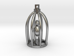 Blind Man in Broken Cage Pendant in Raw Silver