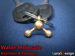 Water Molecule Keychain in Stainless Steel
