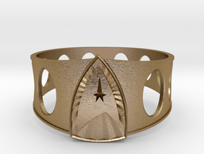 Star Trek Ring size 13 in Polished Gold Steel