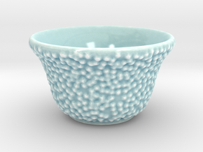 DRAW tea bowl - lumpy bumpies in Gloss Celadon Green Porcelain