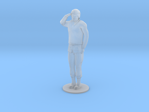 Female Soldier Salute (1/48) in Frosted Ultra Detail