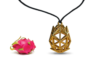 Poly Dragon Fruit Jewel in Polished Gold Steel