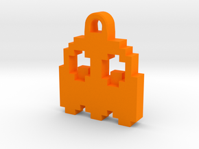 Pac Man Ghost 8-bit Earring 2 (looks down) in Orange Strong & Flexible Polished