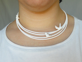 Birds on Wires Necklace Large in White Strong & Flexible Polished