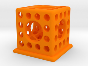 Cubic Vacuum Pen Holder in Orange Strong & Flexible Polished