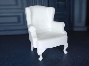 1:24 Queen Anne Wingback Chair in White Strong & Flexible