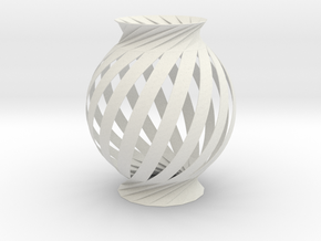 Lamp Ball Twist Spiral Inspired in Fold and Cut in White Strong & Flexible