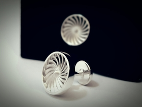 Jet Engine Cufflink in Polished Silver