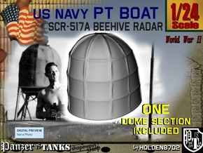 1-24 PT Boat Beehive Radar Dome in White Strong & Flexible Polished