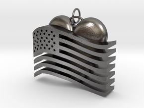 Heart Flag Pendant in Polished Nickel Steel