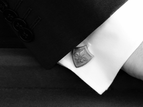 Fleur De Lis Shield Cufflinks in Polished Nickel Steel