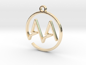 A & A Monogram Pendant in 14k Gold Plated