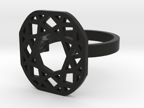 Square diamond ring in Black Strong & Flexible