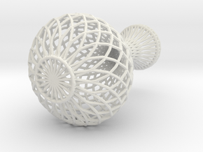 Flowerpot In Wireframe in White Strong & Flexible
