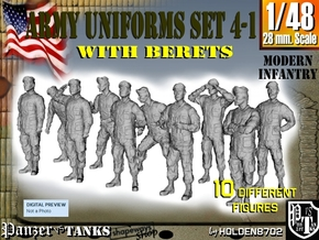 1-48 Army Modern Uniforms BERETS Set 4-1 in Frosted Ultra Detail