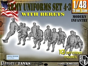 1-48 Army Modern Uniforms BERETS Set 4-3 in Frosted Ultra Detail
