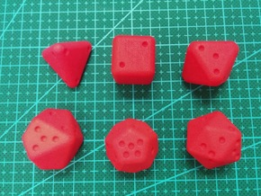 Pip D20 Dice Set (large) in Red Strong & Flexible Polished