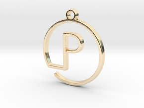 P Monogram Pendant in 14k Gold Plated